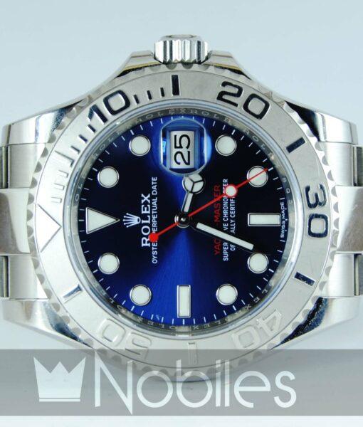Begagnad-Rolex-Yacht-master-blå-front-liggande